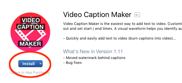 Download 'Video Caption Maker' from the Mac App Store